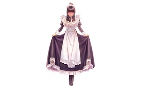 Picture white background, Overlord, uniform, the maid, bow, servants, apron, ruffles, nod