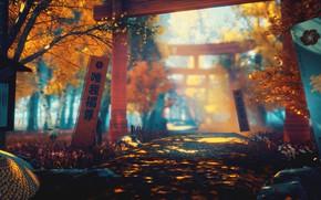 Picture autumn, nature, sword, art, torii