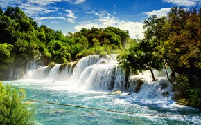 Picture Croatia, waterfall, Krka National Park, trees, greens, the sun, the sky, clouds