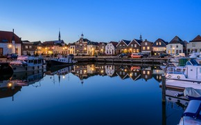 Picture lights, home, Netherlands, harbour, Oude-Tonge
