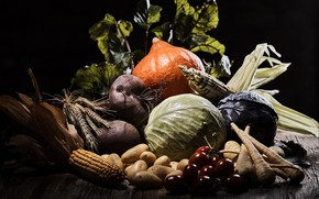Picture corn, harvest, vegetables, cabbage, potatoes, beets