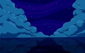 Picture Clouds, Sea, Night, Figure, Stars, Clouds, Calm