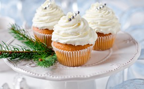 Picture holiday, New year, decoration, cream, dessert, cupcakes, cupcakes, cupcakes