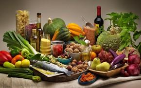 Picture wine, lemon, fish, bow, grapes, eggplant, pumpkin, pepper, nuts, vegetables, pear, pasta, Krupa, cuts, zucchini, ...