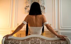 Picture girl, pose, glare, background, sweetheart, model, portrait, interior, lights, dress, brunette, light, wall, lace, back, …