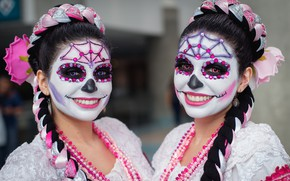 Wallpaper day of the dead, day of the dead, girls, face, paint, look