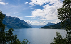Picture the sky, clouds, mountains, lake, Norway, Norway, Sogjnefjord, Lustrafjord