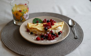 Picture glass, berries, raspberry, food, Breakfast, damn, powdered sugar, filling, orange juice, red currant, black currant