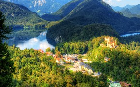 Picture greens, forest, the sun, trees, mountains, lake, castle, HDR, home, Germany, Bayern, panorama, the view …