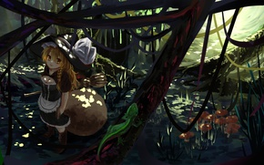 Picture forest, lizard, Amanita, corset, broom, touhou, art, pigtail, witch hat, Touhou Project, Marisa Kirisame, Qifenling …