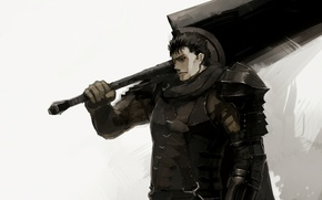 Picture sword, game, armor, anime, man, ken, blade, Berserk, warrior, manga, powerful, strong, Guts