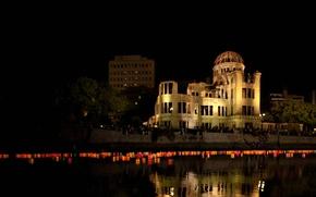 Picture night, house, memory, Japan, ruins, lanterns, Hiroshima