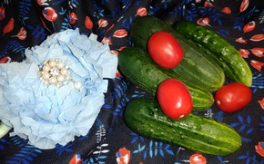 Picture flower, fabric, still life, tomatoes, cucumbers