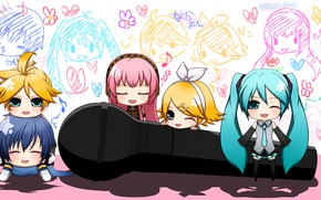 Picture anime, art, microphone, Vocaloid, Vocaloid, characters