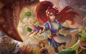 Wallpaper Akali, League Of Legends, fantasy, Sashimi Yet., the sushi chef Akali, champion, Elena You're A ...