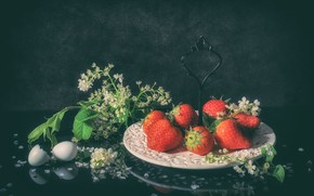 Picture berries, strawberry, still life, cherry