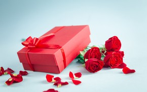 Picture love, flowers, gift, roses, bouquet, petals, red, red, love, wood, flowers, romantic, Valentine's Day, gift, …