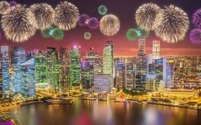 Wallpaper megapolis, skyscrapers, architecture, blue, salute, lights, sea, fountains, lights, night, Singapore, landscape