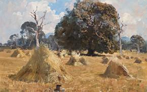 Picture field, landscape, picture, stack, Arthur Streeton, Arthur Streeton, Oat Harvest