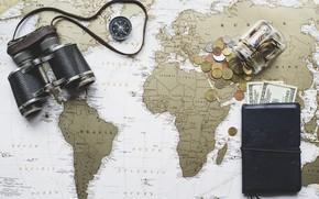 Picture binoculars, world map, detail, purse, dollars, money, map