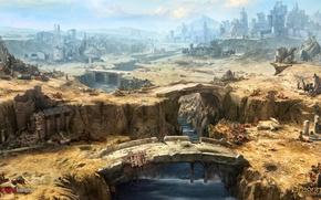 Picture mountains, the city, river, building, devastation, bridges, buildings, dragon eternity, seven bridges of shadan