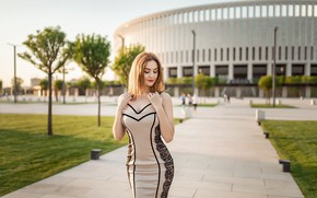 Picture trees, the city, pose, lawn, model, portrait, makeup, figure, dress, hairstyle, brown hair, beauty, the …