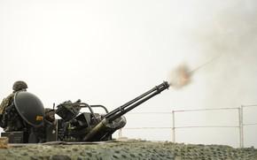 Picture gun, soldier, weapon, man, uniform, machine gun, seifuku