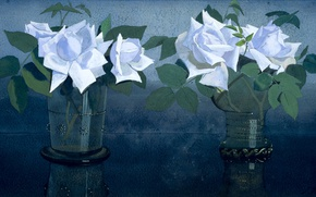Picture flowers, figure, still life, gouache, Ian Voerman, French Roses in Two Glass Vases