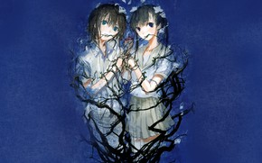 Picture branches, girls, blue background
