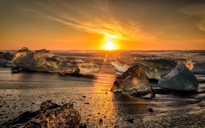 Picture Sunset, Shore, Ice