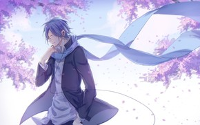 Picture spring, anime, scarf, art, guy, Vocaloid, Vocaloid