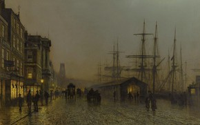 Picture promenade, John Atkinson Grimshaw, the urban landscape, mast, Glasgow. Saturday Night, John Atkinson Grimshaw, ship, ...