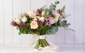 Picture greens, roses, bouquet, snapdragons