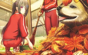 Picture autumn, leaves, girls, dog, anime