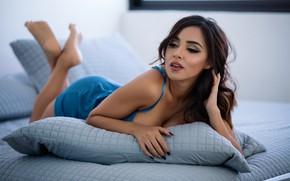 Picture pose, pillow, makeup, dress, brunette, hairstyle, lies, beauty, blue, on the bed, bokeh, dark, Luis …