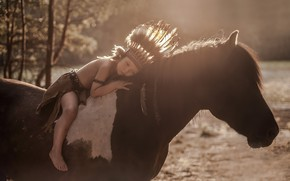 Picture background, horse, boy