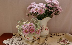 Picture flowers, table, chamomile, chrysanthemum, tablecloth, vases