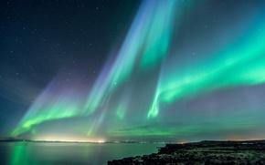 Picture sea, the sky, night, lights, coast, stars, Northern lights, Iceland