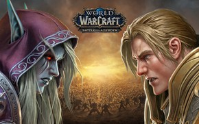 Picture undead, human, Sylvanas Windrunner, Horde, Alliance, Anduin Wrynn, Forsaken, Battle for Azeroth, Wolrd of Warcraft