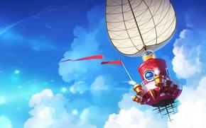 Picture the sky, clouds, ship, art, sail, Nintendo, Super Mario Odyssey