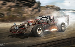 Picture mountains, speed, car, Crossout racer