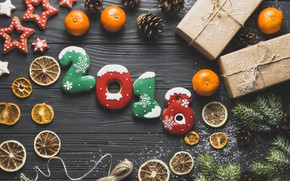 Picture holiday, star, spruce, gifts, citrus, tsyfry, the new year 2018