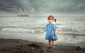 Picture sand, shore, sailboat, girl, The young lady and the sea