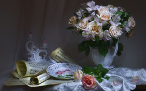 Wallpaper alstremeria, tablecloth, notes, candle holder, plate, roses, bouquet, candles, flowers, style