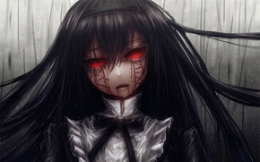Picture zombies, zombie, witch, undead, bloody tears, horror, burning eyes, black hair, Homura Akemi, Mahou Shoujo …