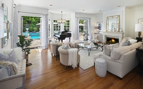 Wallpaper sofa, furniture, table, Design, room, mansion, living room, Living, chair, pool, fireplace