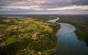 Picture lake, panorama, town, Lithuania, lake Asveja, Dubingiai
