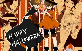 Picture anime, art, Lambo, Halloween, Reborn, Sawada Tsunayoshi, Rokudou Mukuro, Katekyo Hitman REBORN!, Hibari Kyoya, Gokudera ...