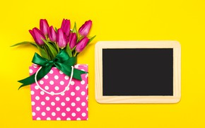 Picture flowers, frame, tulips, pink, fresh, pink, flowers, spring, purple, tender, frame