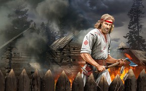 Picture Smoke, Fire, Spruce, Male, Arrows, Hut, Ancient Rus, A wooden fence, Bromovinyl axe